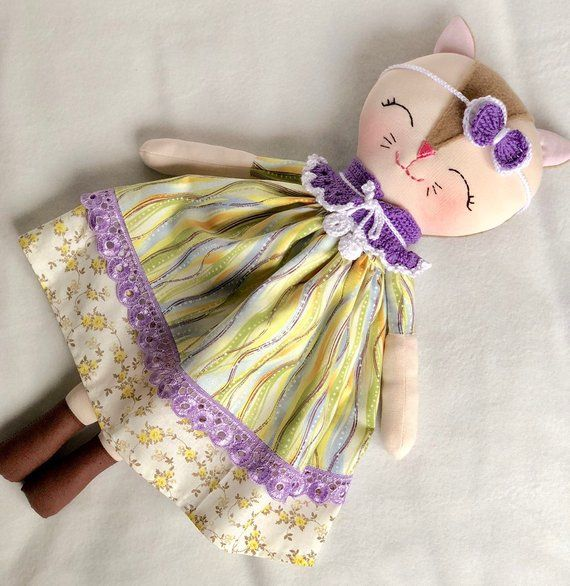 6b348768b69a9 Dress up cat rag doll, baby first soft toy, toddlers toy, cat cloth doll, baby  girl gift, kitty fabr