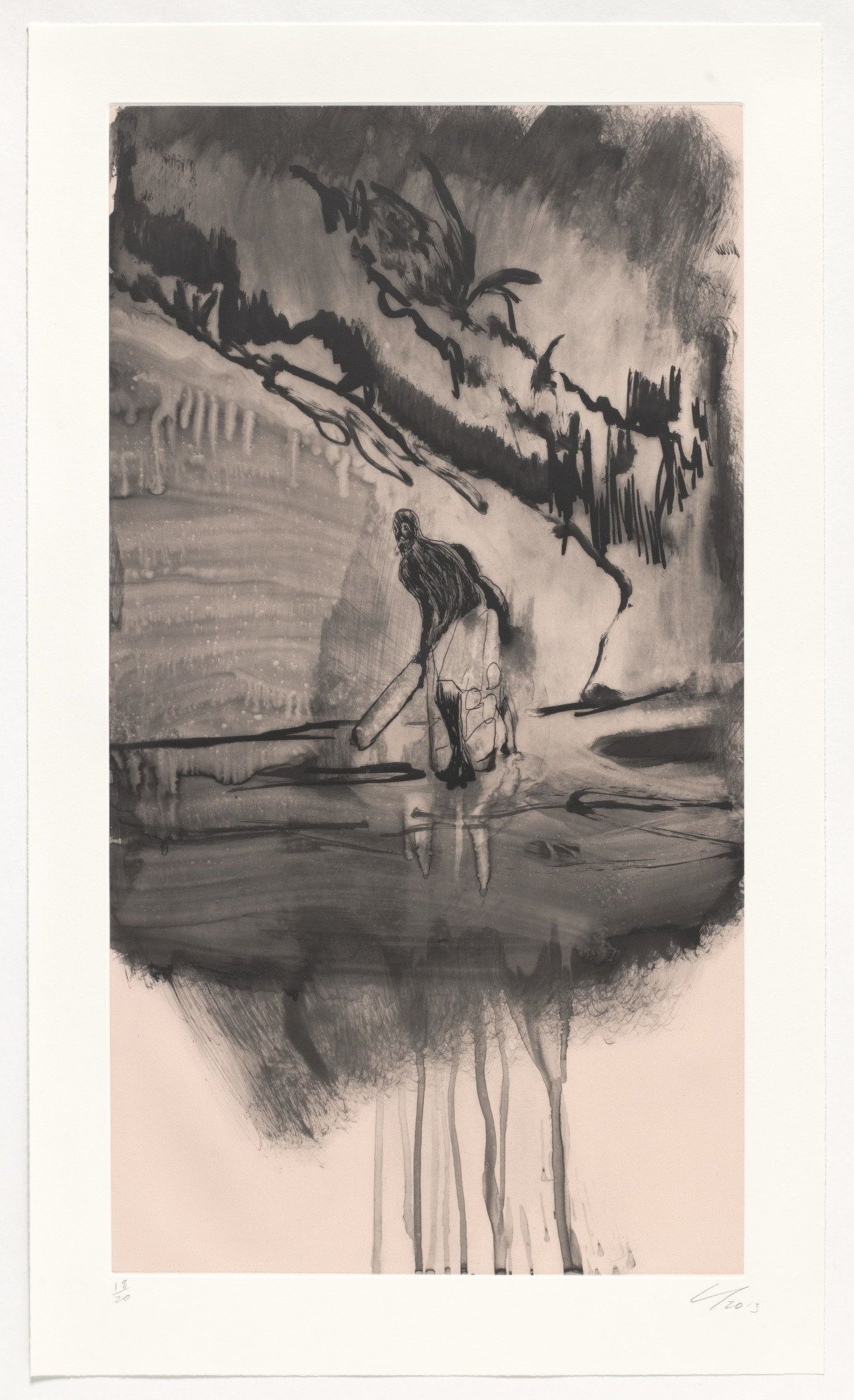 "Peter Doig. Untitled, Large Cricket Player. 2013. Etching with aquatint, and screenprint. plate: 28 3/4 x 15 9/16"" (73 x 39.5 cm); sheet: 33 1/8 x 19 1/2"" (84.2 x 49.5 cm). Committee on Prints and Illustrated Books Fund. 49.2014.1. © 2016 Peter Doig. Untitled. Drawings and Prints."
