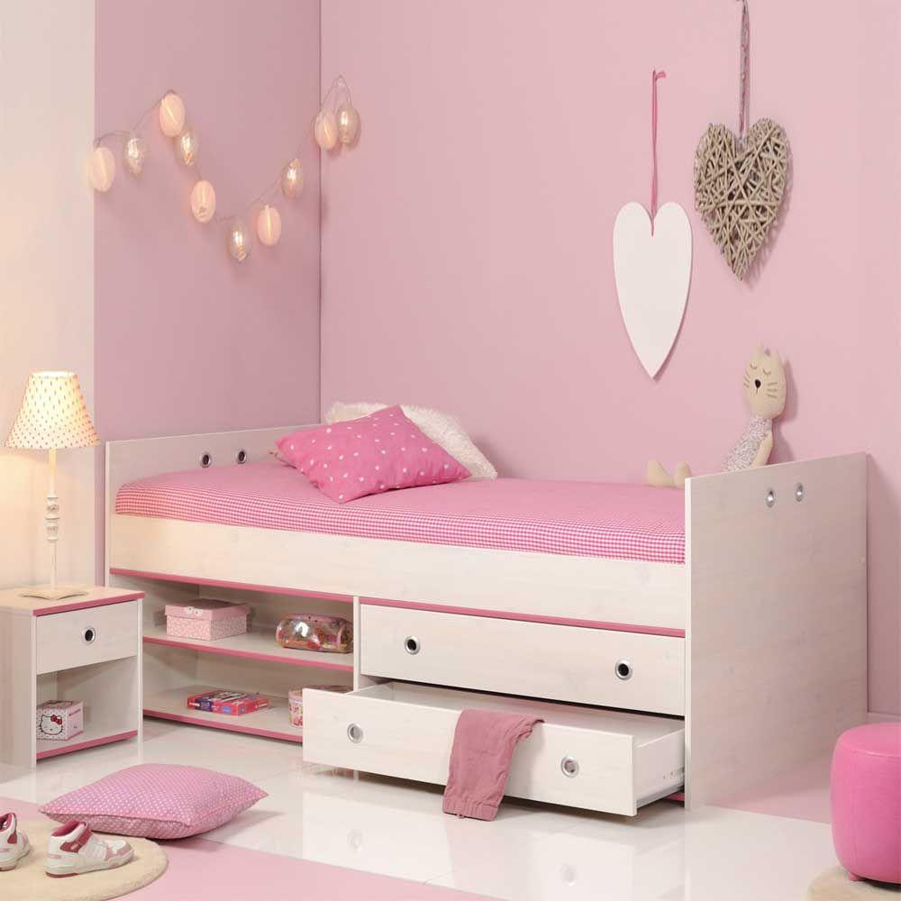 Kinderbett mit schubladen wei pink blau 2 teilig jetzt for Hohes einzelbett