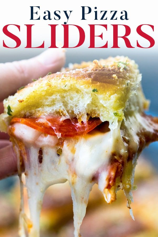 Easy Hawaiian Roll Pizza Sliders-- perfect to make ahead for parties!