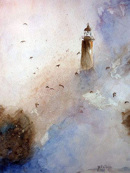Yokozaza Watercolor Ocean Art Painting Lighthouse Painting