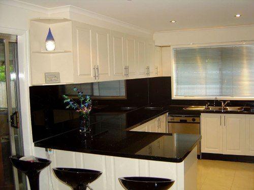 Black Painted Gl Kitchen Backsplash
