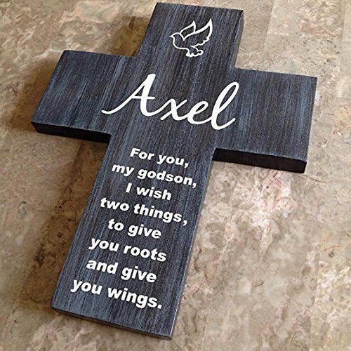 Godson cross personalized with his name on pine wood w dove roots gift negle Images
