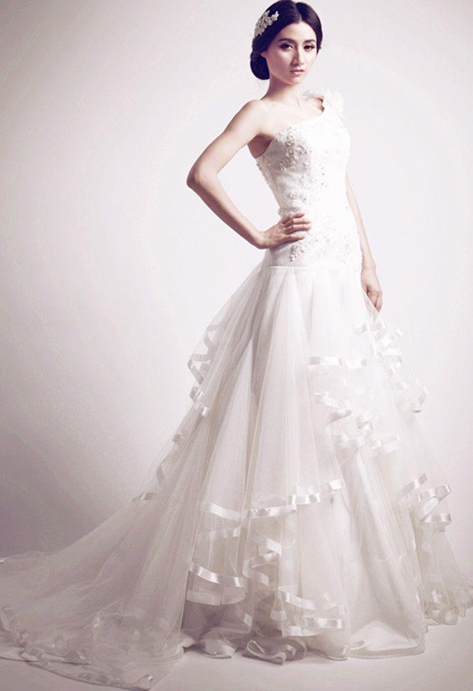 A-line/ Princess One-Shoulder Court Train Wedding Dress With Lace ...