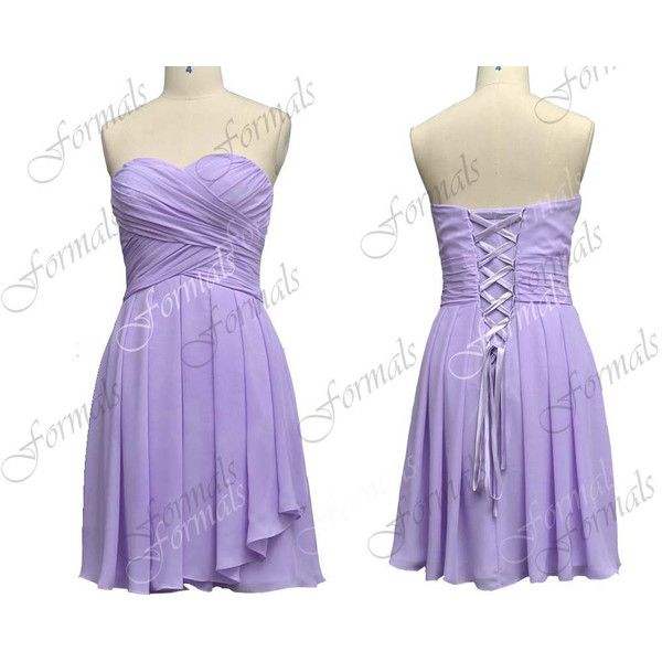 Strapless Knee Length Lavender Chiffon Short Bridesmaid Dresses Prom Lilac Tail Wedding Party