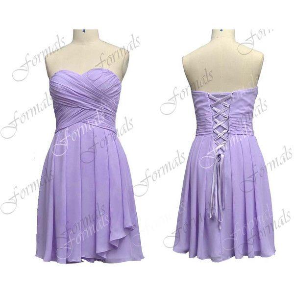 Strapless Knee Length Lavender Chiffon Short Bridesmaid Dresses ... b480a4a59786