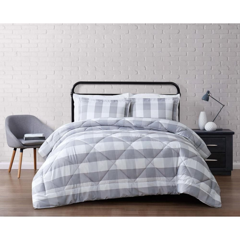 Truly Soft Buffalo 1 Piece Grey And White King Comforter Set Cs2093gykg 1500 The Home Depot Grey Comforter Sets Plaid Comforter Comforter Sets