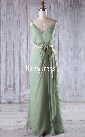 Green A Line V Neck Chiffon Floor Length Sashes Ribbons Bridesmaid Dress