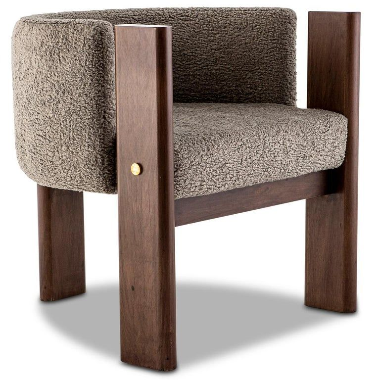 Walnut Timber, Solid Brass and Boucle' Malta Dining and Lounge Chair For Sale at 1stdibs