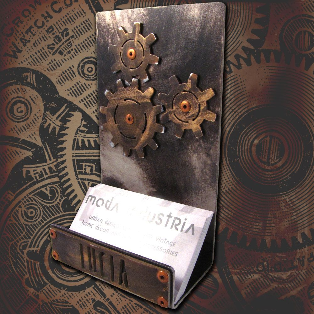Personalized Steampunk Business Card Holder | Business card holders ...