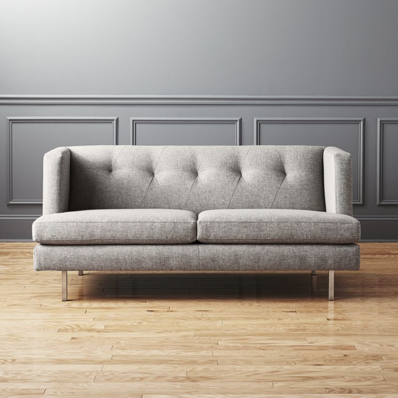 Avec Grey Apartment Sofa With Brushed Stainless Steel Legs Reviews Retro Sofa Sofa Apartment Sofa