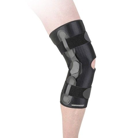 Ultrawrap Standard Ultrawrap Model Features Accutrac Hinges With Semi Rigid Uprights And Interchangable Extension Stop Ultrawrap Rom Mo Knee Hinges Knee Brace
