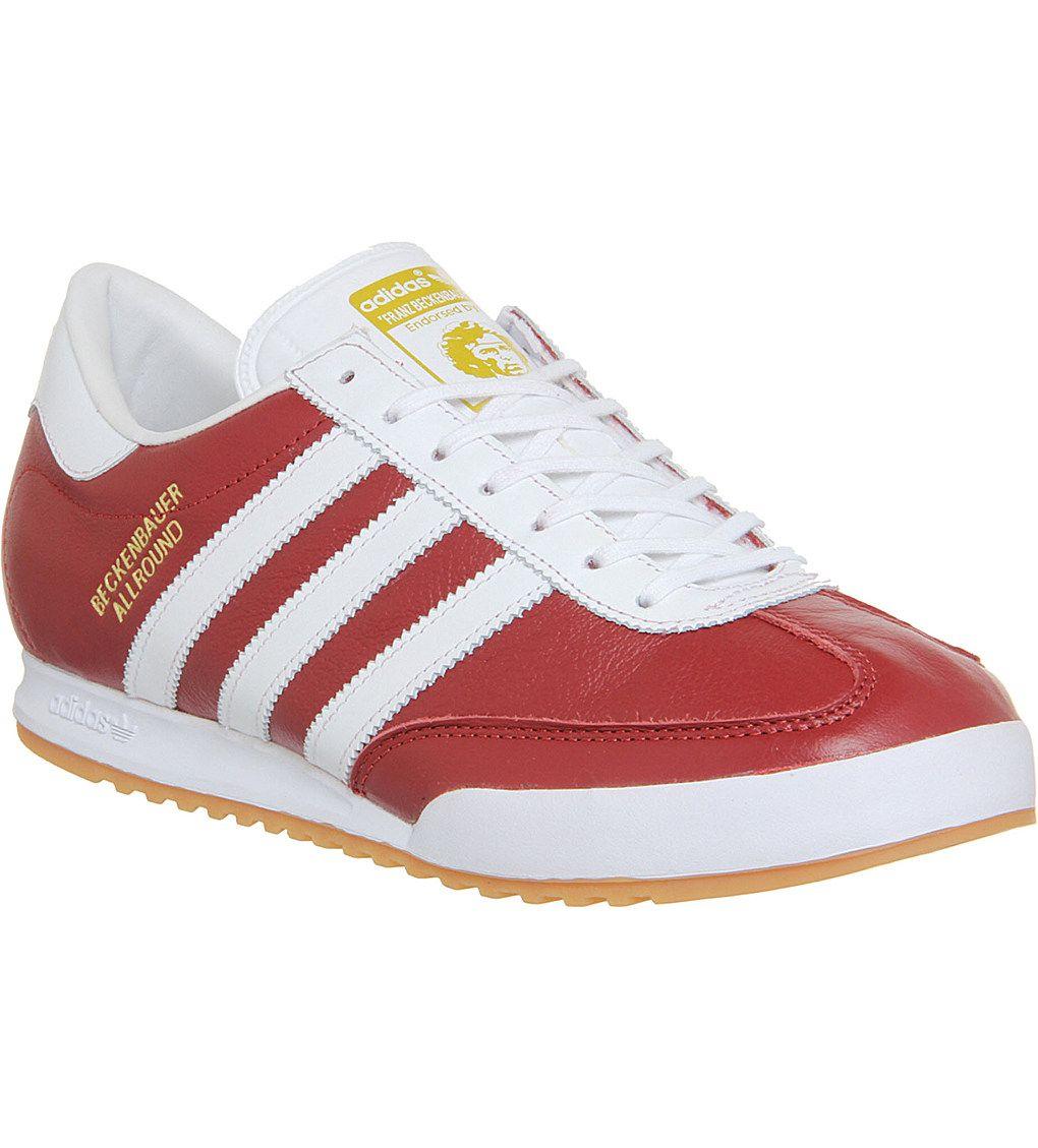 adidas originals beckenbauer trainers maroon