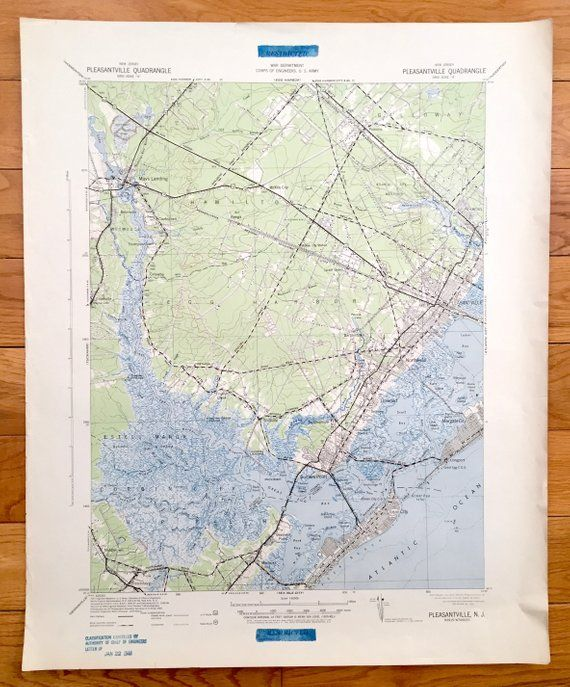 Antique Ocean City New Jersey 1942 Us Army Topographic Map - Us-army-topographic-maps