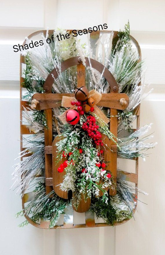 Christmas Tabacco Basket, Farmhouse Christmas Decor, Christmas
