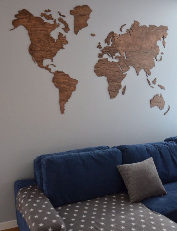 Wall Map Of The World Map Wooden Travel Push Pin Map Rustic Home - Large wall maps for sale