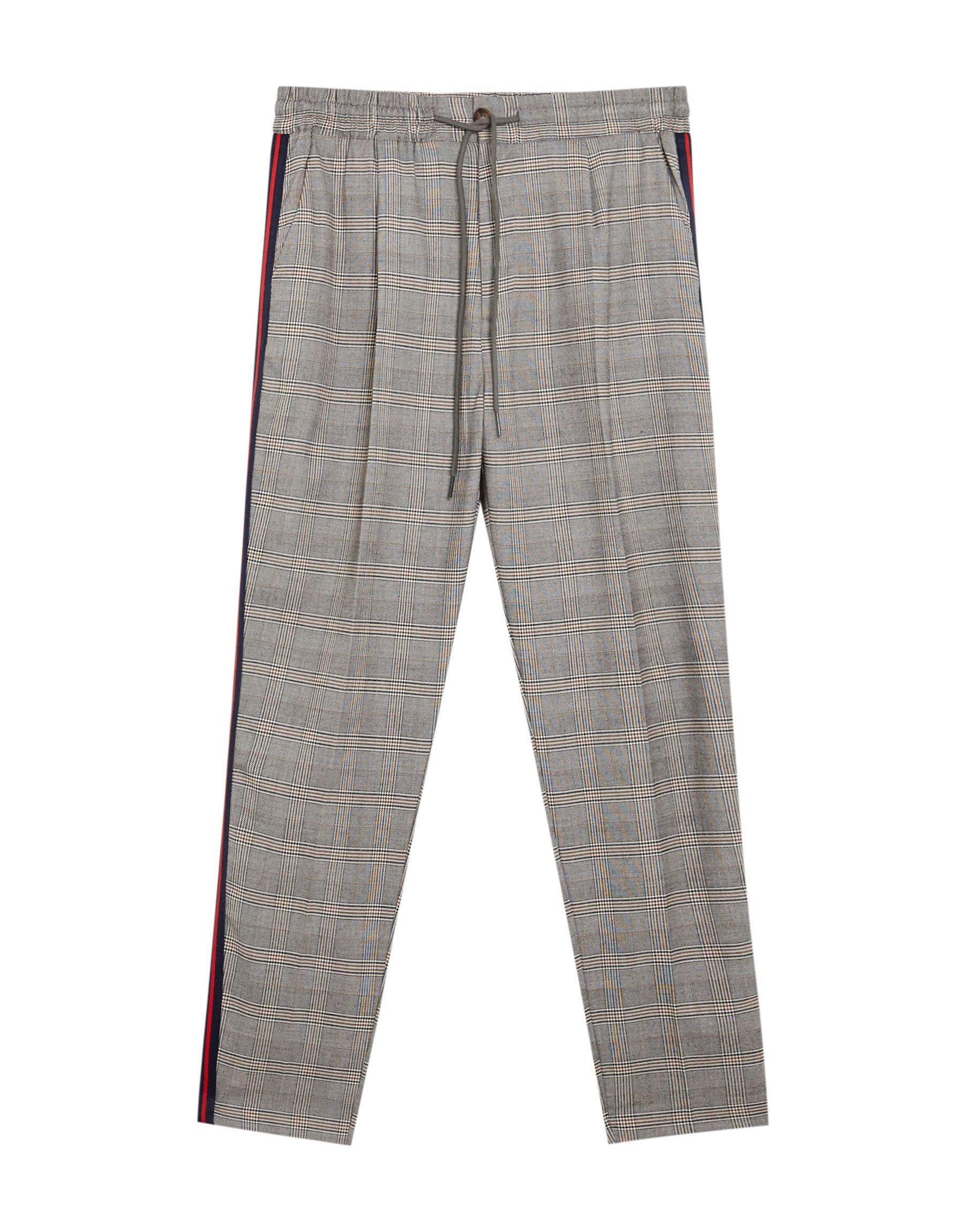 Pantalón tailored cuadros banda lateral - Pantalones ...