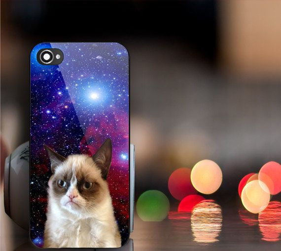 Grumpy Cat Nebula Print on hard plastic for iPhone by ...