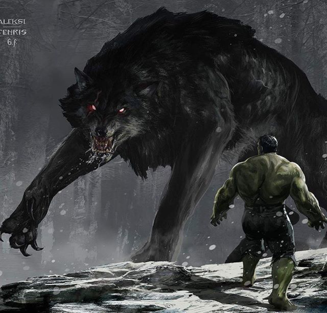 Concept Art For Fenris In Thor Ragnarok Facing The Hulk For Some Sense Of Size There Was A Lot Of Iterations Before Com Hulk Art Hulk Artwork Marvel Comics