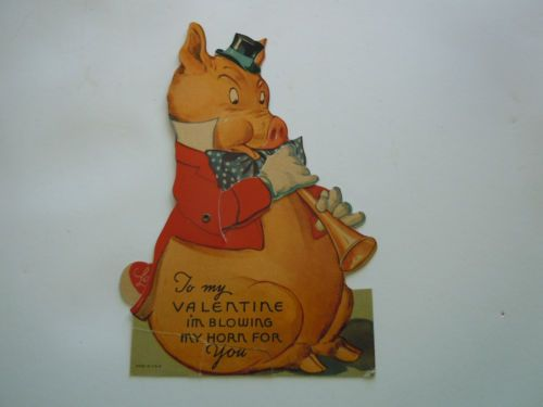 VINTAGE VALENTINE - CARDBOARD PIG PLAYING HORN - MOVEABLE - 1930s