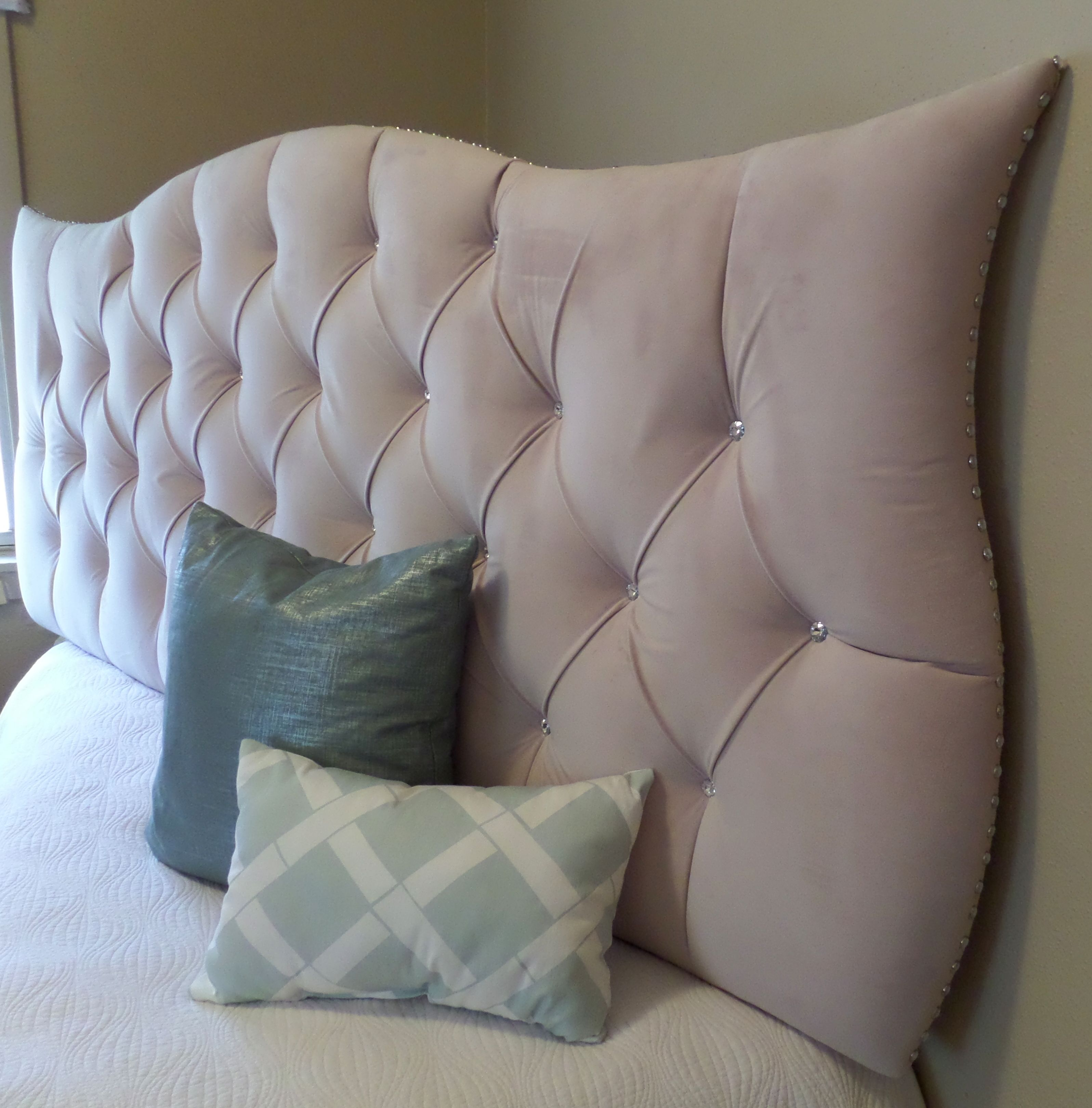 Custom Upholstered Headboards cream ivory neutral tufted upholstered headboard with crystal