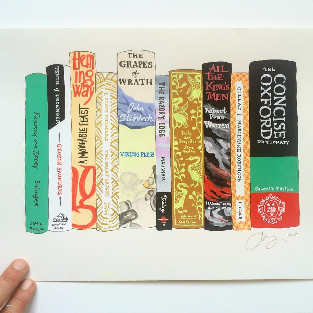 "janemount: "" love the high drama of the All the King's Men spine. also, George Saunders' Tenth of December is excellent, imo. ________ #idealbookshelf #illustration #books """