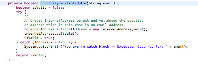 How To Validate Email Address Using Java Mail Api Creative Web