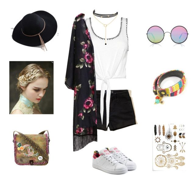 """""""Spring/Music Festival Outfit 2"""" by breannagutierres on Polyvore featuring Coeur de Vague, Sunday Somewhere, Hollister Co., Alice + Olivia, adidas Originals, Chanel and LULUS"""