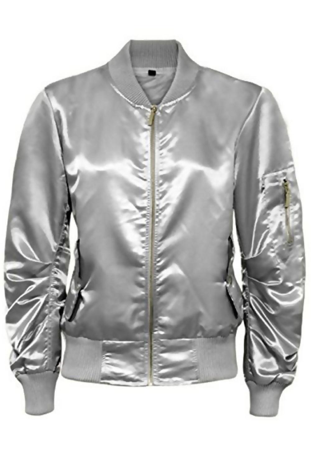 Silver Satin Ma1 Bomber Jacket Bomber Jacket Jackets Long Jeans [ 1496 x 1000 Pixel ]