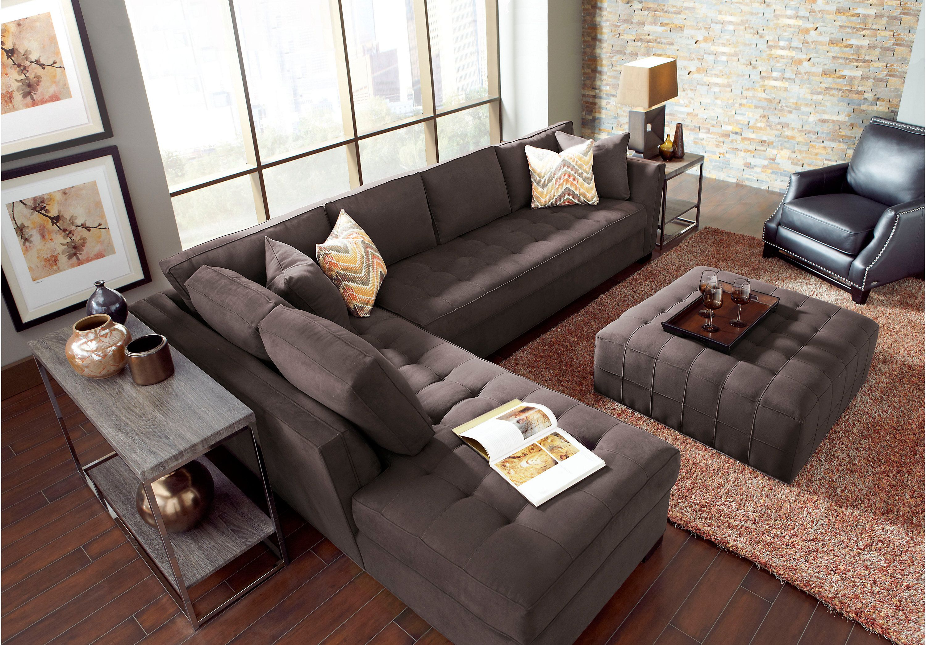 picture of Cindy Crawford Calvin Heights Slate 2Pc Sectional from