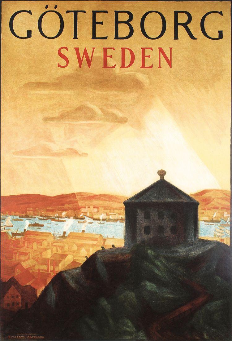 Original Vintage 1920s Swedish Goteborg Travel Poster Resa Med Stil Affisch Vintage Affischer