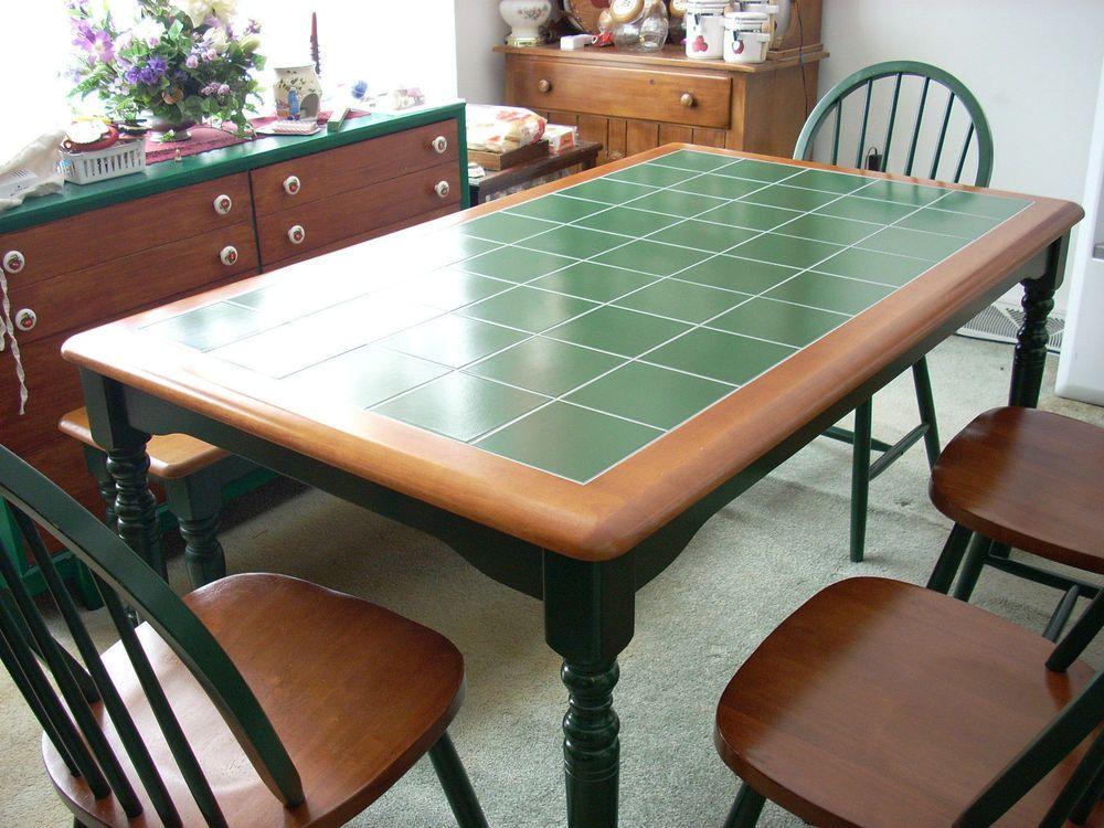 6 pc farmhouse dining room tile top