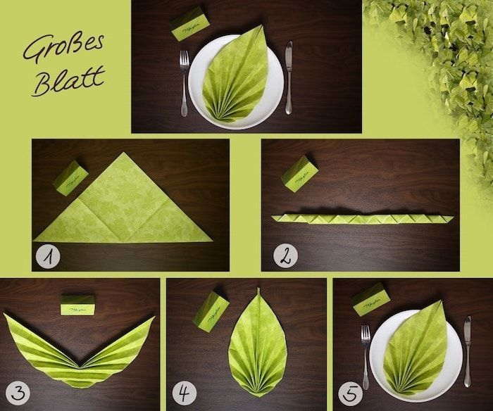 ▷ 1001 + ideas for Insta-worthy napkin folding techniques and tutorials #foldingnapkins leaf shaped, green napkin, diy tutorial, napkin folding with rings, step by step #diynapkinfolding