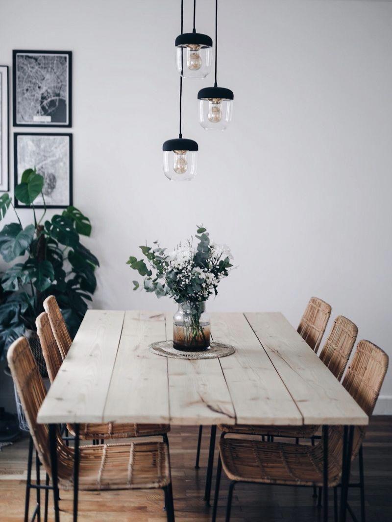 Décoration Salon Salle à Manger Table DIY Bois Brut Pieds Métal Suspensions  #Idéesdedécointérieure