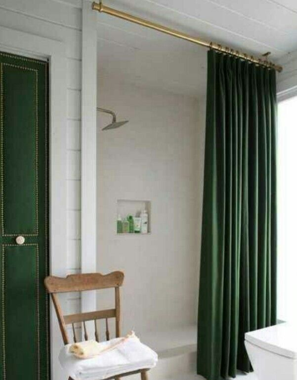 Spray Painted Shower Rod Hung From The Ceiling A Forest Green