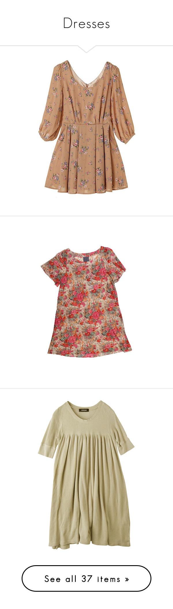 """Dresses"" by jessgrier ❤ liked on Polyvore featuring dresses, vestidos, tops, beige dress, floral, flower pattern dress, floral printed dress, floral pattern dress, flower design dresses and flower print dress"