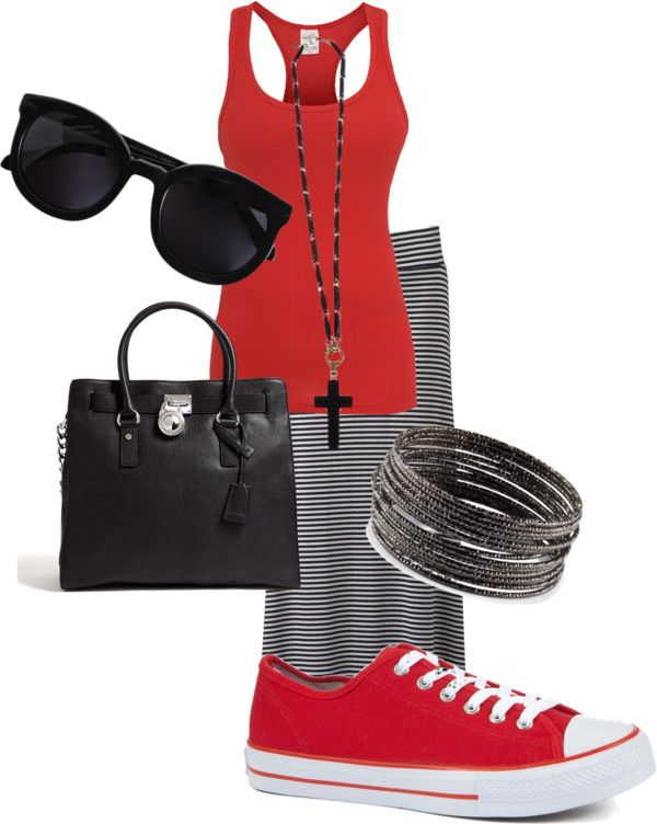 """""""Black and red casual"""" by mollylsanders on Polyvore"""