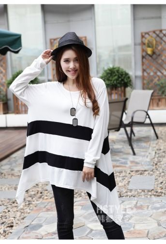 Korean Fashion Striped Irregular Long Sleeve T-Shirt on BuyTrends.com, only price $13.75