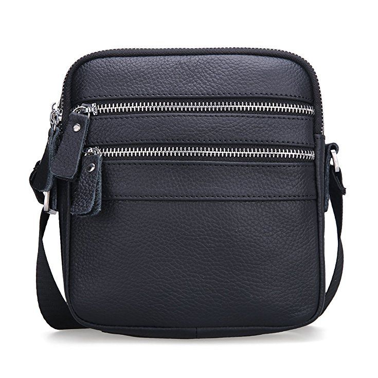 65031bd582 BAIGIO Genuine Leather Mini Cross-Body Shoulder Bag Wallet Phone Pouch ( Black)