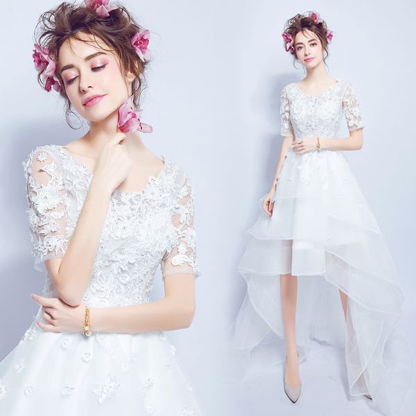 Suosikki 2017 High Low Short Front Long Back Beach Wedding: Sweet Lace Flower Perspective Before The Short Delay