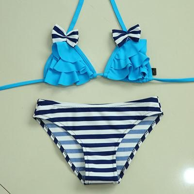 8a063923f98 New Bikinis Set Children s Swimsuit Cute Bow Solid striped Bottom Girls  Swimwear Swimming Suit 10-