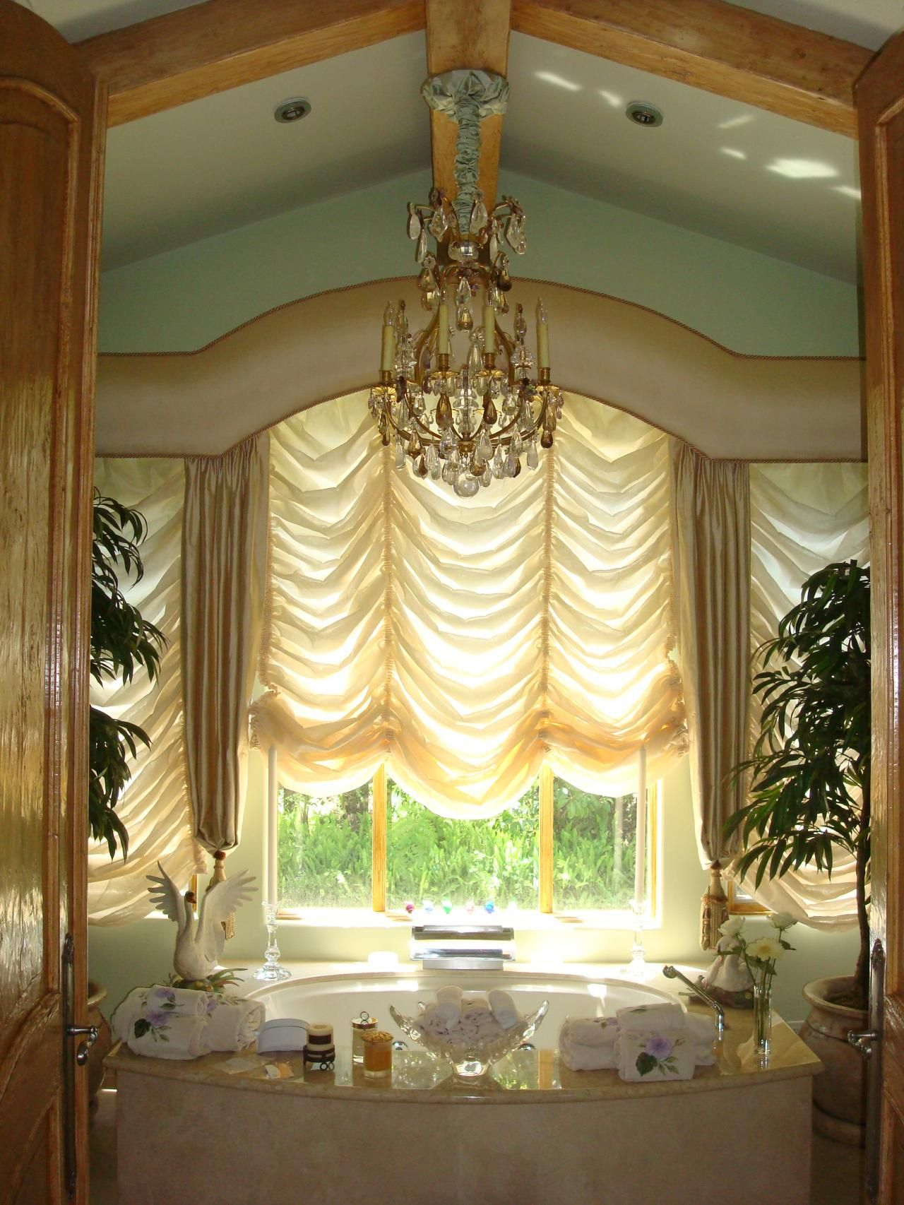Luxury bathroom curtains - Decorations Beautiful Curtains Pictures For Cool Room Decoration Exciting Yellow Ruffle Curtain Window Panel With Luxury White Oval Bathtub And Chic