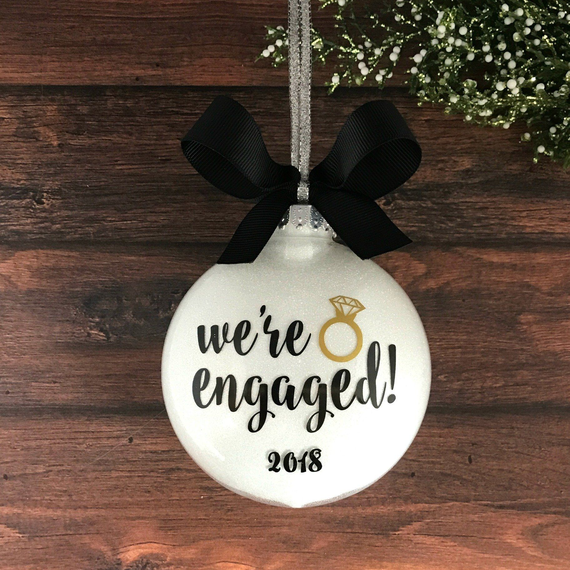 Engaged ornament engagement christmas ornament personalized