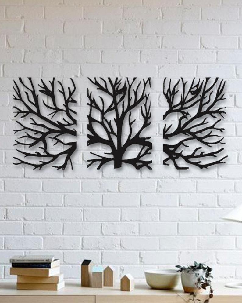 Metal Wall Art Decor 3d Sculpture 3 Piece Tree Brunch Modern Etsy