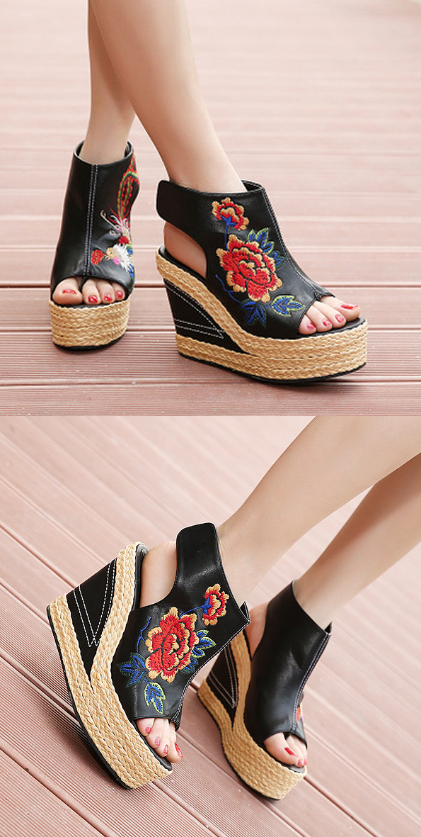 8093e13d2a34 US 34.16 Flower Embroidery National Wind Hollow Out Peep Toe Platform  Sandals