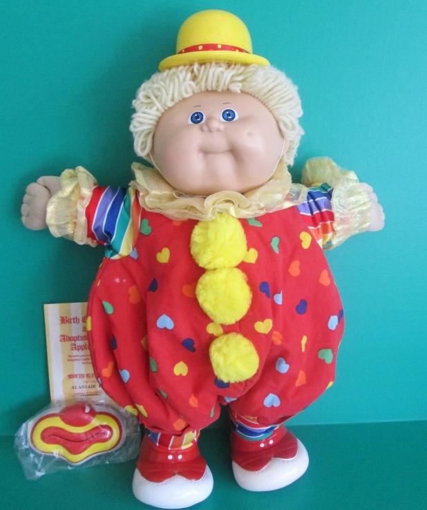 Cabbage Patch Circus Clown Doll 1986 Coleco Lemon Loop Hair Blue Eyes Birth Cert