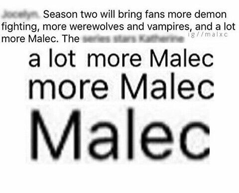 A lot MORE MALEC!!! #shadowhunters #season2 #more #malec