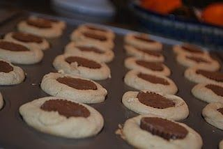 peanut butter cup cookies, try with ganache in middle instead of cups
