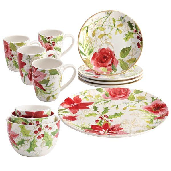 Holiday Floral Porcelain Complete Tabletop 12 Piece Dinnerware Set Holiday Dinnerware Holiday Tabletop Dinnerware Set