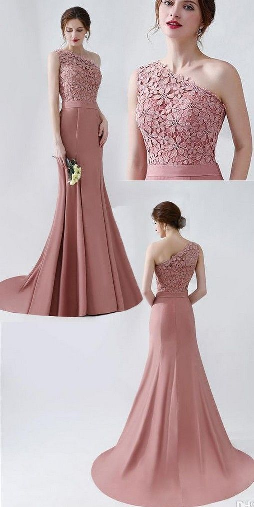 pink party dress one shoulder evening dress lace applique prom dress mermaid formal dress